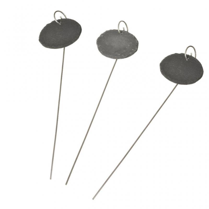 Etiket van leisteen met metalen houder ovaal H 40 x 9 x 7 cm set à 3 stuks