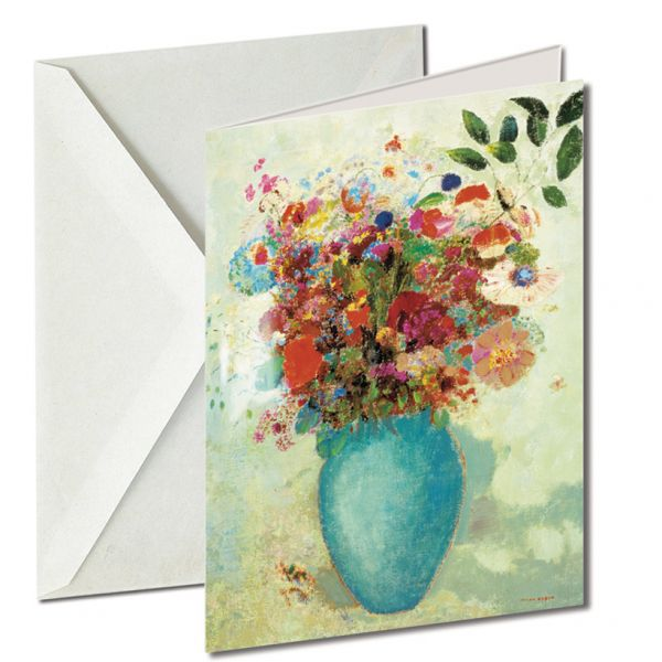 Museumkaart 'Bloemen in turquoise vaas'