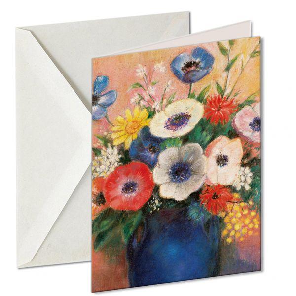 Museumkaart 'Boeket bloemen in blauwe vaas'